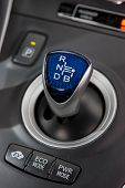 stock photo of gear-shifter  - Hybrid car gear shifter and ECO buttons - JPG