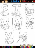 stock photo of x-ray fish  - Cartoon Alphabet Coloring Book or Page Set with Funny Animals for Children Education and Fun - JPG