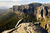 view of sandstone rock face - Czech-saxon Switzerland