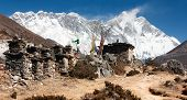 buddhist prayer walls or prayer stupas in nepal on the way to everest base cam