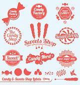 Conjunto de vectores: Vintage Candy Shop etiquetas y calcomanías
