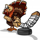 Hockey Thanksgiving Holiday Turkey Cartoon Vector Illustration