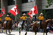 Yellow Women Riders With Flags On Horseback