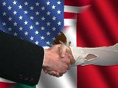 Постер, плакат: Американский мексиканский рукопожатие
