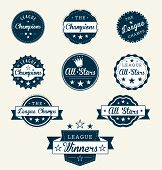 Vector Set: Vintage League All Stars Labels and Stickers