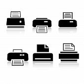 Set Of 6 Printer Icons