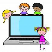 crianças com um computador