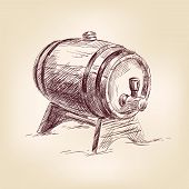 cask of wine drawing vector illustration
