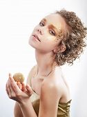 Fashion Woman - Beauty Gilded Golden Make-up. Luxury Curly Hair