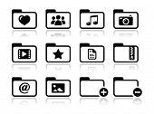 Conjunto de iconos de carpetas documentos música película