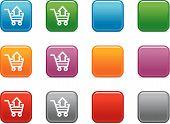 Botones de colores con icono de carro de compras