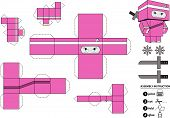 Unfold Ninja Girl Paper Toy.eps