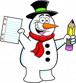 Cartoon Snowman Student