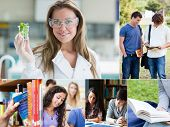 Collage of pictures with various students at the university