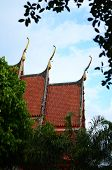 image of apex  - Red roof and Gable apex of Buddhist religious building in thailand - JPG