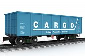 image of boxcar  - Blue rail wagon - JPG