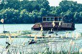 Navio abandonado em um rio