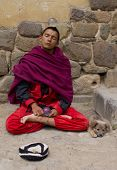 Buddhist Monk with Dog