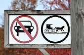 image of mennonite  - Signs erected in areas with Old Order Amish, Old Order Mennonite or members of a few different Old Order