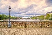 Love Padlocks On Pont Des Arts Bridge, Seine River In Paris, France.