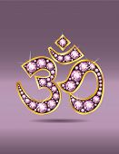 Om Symbol In Gold With Rose Quartz Stones