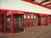 Red Revolving Door
