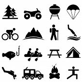 stock photo of recreational vehicles  - Leisure outdoors and recreation icon set in black - JPG