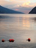 Evening scenery of The Lake Garda (Lago di Garda or Lago Benaco). Italian largest lake is located in