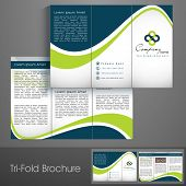 stock photo of booklet design  - Professional business three fold flyer template - JPG