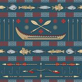 Indian Fishing - Seamless Pattern