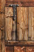 Antique Rustic Pine Wooden Door With Wrought Iron Hinge