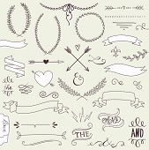 Wedding graphic set, arrows, hearts, laurel, wreaths, ribbons and labels.