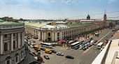 ST.PETERSBURG, RUSSIA - JUN 26: Top view of the Metro and mall Gostiny Dvor on Nevsky Prospect, Jun