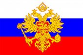 Russian coat of arms (double-headed eagle) over flag