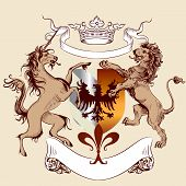 Heraldic Design With Coat Of Arms, Lion And Horse In Vintage Style