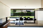 Modern villa, interior, view room from kitchen