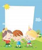 Three kids and frame