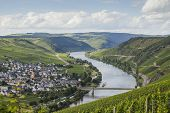 stock photo of moselle  - View on the Mosel valley in Germany - JPG