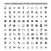 100 communication infographics icons, elements, signs set, vector