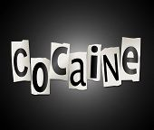 stock photo of crack cocaine  - Illustration depicting a set of cut out printed letters formed to arrange the word cocaine - JPG