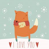 Cute card for Valentine's Day with a fun fox