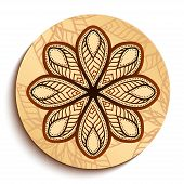 Ethnic Wooden Plate. Isolated on White