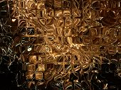 Golden Transparent Cubes As Abstract Background.