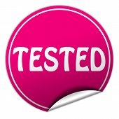 Tested Round Pink Sticker On White Background