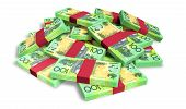 Australian Dollar Notes Scattered Pile