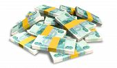 Ruble Notes Scattered Pile