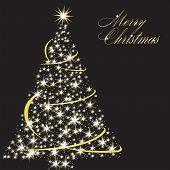 Simple Lite Tree Over Black-Merry Christmas