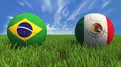 stock photo of palace  - 3D soccer balls with brazil and mexico flag - JPG