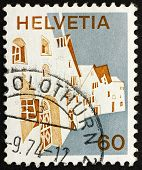 Postage Stamp Switzerland 1973 Village In Engadine