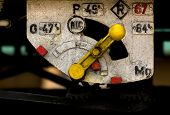 pic of motor coach  - close up of locomotive train engine element with numbers and handle or lever - JPG
